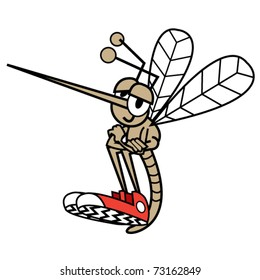 Mosquito sitting and wearing tennis shoes in a funny, cute cartoon style.