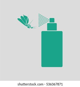 Mosquito spray icon. Gray background with green. Vector illustration.