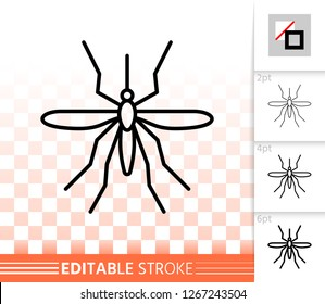 Mosquito thin line icon. Outline sign of insect. Bite linear pictogram with different stroke width. Simple vector symbol, transparent background. Bloodsucking flyer editable stroke icon without fill