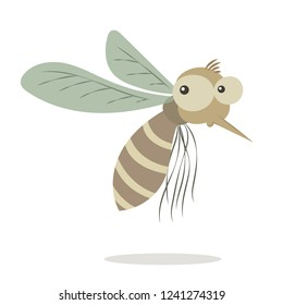 Mosquito vector cartoon illustration isolated on white background. Funny mosquito cartoon. Pastel mosquito.
