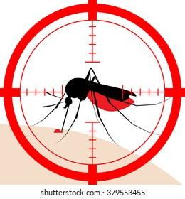 Mosquito vector icon in target - Zika