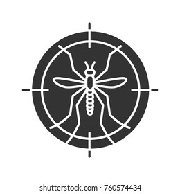 Mosquitoes target glyph icon. Anti-insect repellent. Silhouette symbol. Negative space. Vector isolated illustration