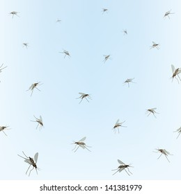 Mosquitos Seamless border. Mosquitos isolated on blue sky background. Incest pattern.