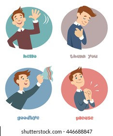 The most common phrases - hello, thank you, goodbye, please