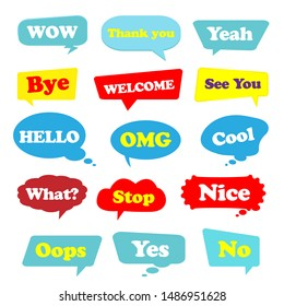 Most common used acronyms and abbreviations on flat style speech bubbles, Vector illustration