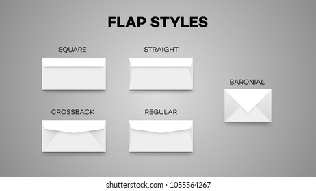 Most Envelope Flap Styles. Square, Sraight, Crossback, Regular And Baronial Vector Temlate