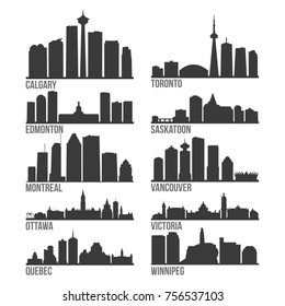 Most Famous Canada Cities Skyline City Silhouette Design Collection