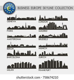 Most Famous Europe Business and Financial Travel Skyline City Silhouette Design Collection
