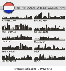 Most Famous Netherlands Cities. Travel Skyline City Silhouette. Design Collection Set.
