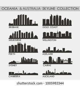 Most Famous Oceania Travel Skyline City Silhouette Design Collection Set