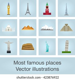 Most famous places vector illustrations set