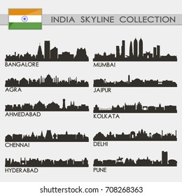 Most Famous Republic India Cities Skyline City Silhouette Design Collection