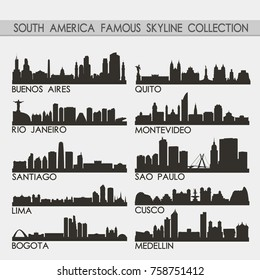 Most Famous South America Travel Skyline City Silhouette Design Collection