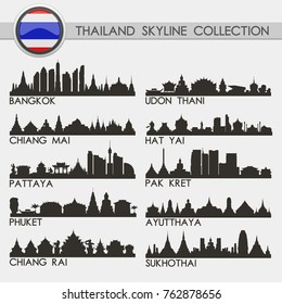 Most Famous Thailand Travel Skyline City Silhouette Design Collection