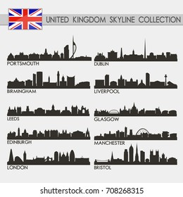 Most Famous UK United Kingdom Cities Skyline City Silhouette Design Collection