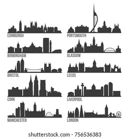 Most Famous United Kingdom Cities Skyline City Silhouette Design Collection