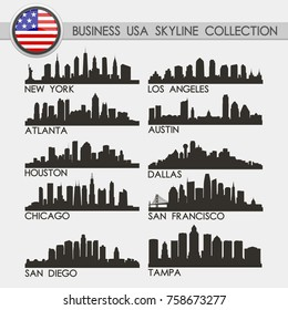 Most Famous USA Business and Financial Travel Skyline City Silhouette Design Collection