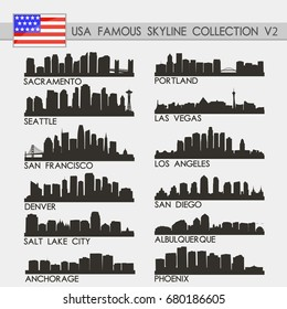 Most Famous USA Cities Skyline City Silhouette Design Collection Vol. 2