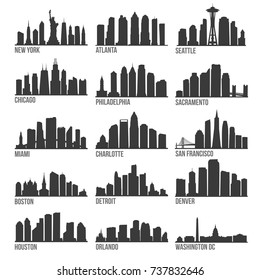 Most Famous USA Cities Skyline City Silhouette Design Collection Set