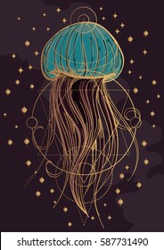 Most jellyfish poster. The inhabitants of the deep sea.