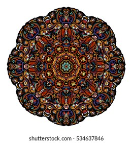 Most mandala consisting of complex elements. Drawn by hand. Oriental floral pattern. Vector illustration. Hot eastern colors.