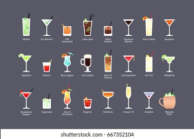 Most popular alcoholic cocktails part 1, icons set in flat style on dark background. Vector