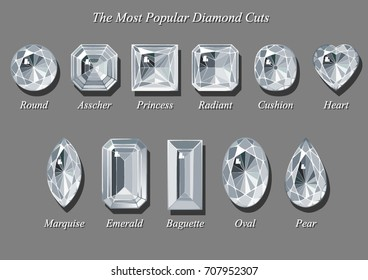 The most popular diamond cut shapes and styles - round, asscher, radiant, cushion, heart, marquise, emerald, baguette, oval, pear. Sketch-like drawing, vector illustration