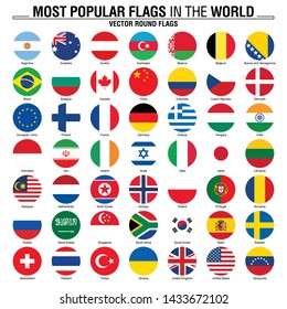 Most popular flags in the world. Round flags on white background.