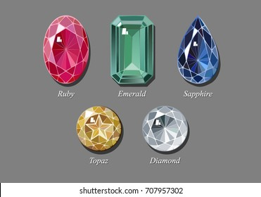 The most popular jewels - oval cut ruby, rectangle emerald, pear shaped sapphire. star cut topaz, round brilliant cut diamond. Sketch-like drawing, vector illustration