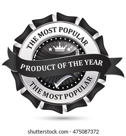 Most popular product of the year - elegant metallic black business ribbon / icon
