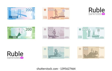 The most popular Russian banknotes in vector graphic.  Russian money. Flat design. Ruble banknotes of Russia.