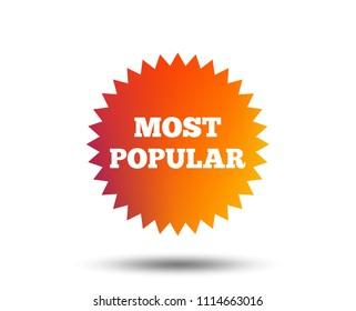 Most popular sign icon. Bestseller symbol. Blurred gradient design element. Vivid graphic flat icon. Vector