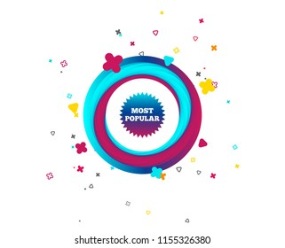Most popular sign icon. Bestseller symbol. Colorful button with icon. Geometric elements. Vector
