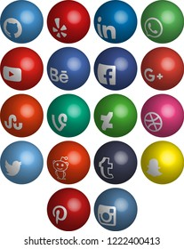 Most popular social media icons: Twitter,linkedin,Youtube, Pinterest, Instagram, Facebook,Skype,Google Plus, Yelp, Snapchat, Thumblr, Vine, Reddit, Youtube, Whatsapp, 3d vector icons