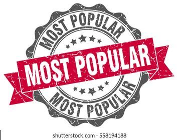 most popular. stamp. sticker. seal. round grunge vintage ribbon most popular sign
