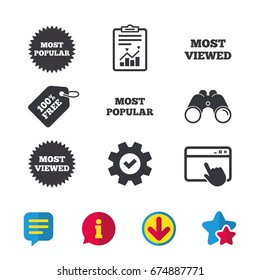 Most popular star icon. Most viewed symbols. Clients or customers choice signs. Browser window, Report and Service signs. Binoculars, Information and Download icons. Stars and Chat. Vector
