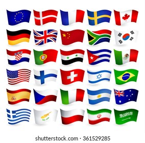 Most Popular World Flying Flags.All elements are separated in editable layers clearly labeled.