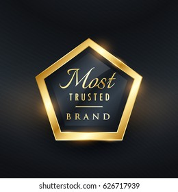 most trusted brand golden label and badge vector symbol