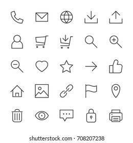 Most used webdesign icons, ui set, vector illustration