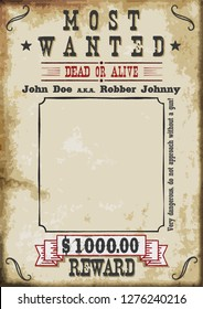 Most Wanted Poster $1000 dollar reward. A4 Sheet Proportions