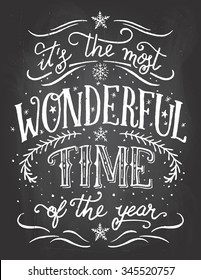 It's the most wonderful time of the year. Christmas and new year chalkboard printable