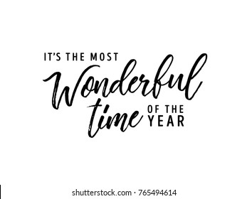 It's The Most Wonderful Time Of The Year, Wonderful, Christmas Background, Christmas Text, Handwritten Card, Greeting Card Vector Text Background