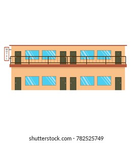 Motel a building of two floors. vector image of the building of the Motel on white background