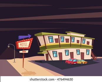 Motel in the desert. Old signboard. Vector cartoon illustration. Parking. Historic building. House facade. Place to rest. Accommodation for tourists