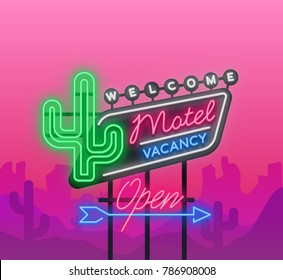 Motel is a light billboard. Neon signboard with Motel advertisement, retro signboard, bright luminous banner, neon sign, neon billboard for your projects. Vector illustration