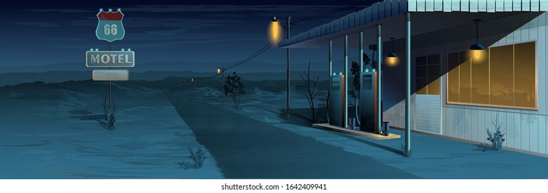 Motel near the road with a gas station on a desert background. Vector graphics.