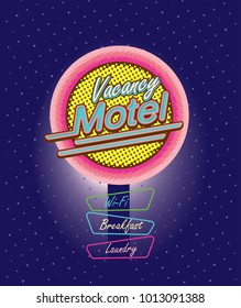 Motel sign illuminated at night, neon signboard design. Vector illustration