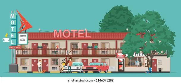 Motel. Vector illustration.