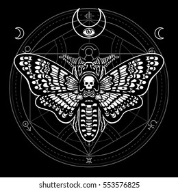 Moth Dead Head. Mystical circle. Esoteric symbol, sacred geometry. Sign of the moon. Monochrome drawing isolated on a black background. Vector illustration. Print, posters, t-shirt, textiles.