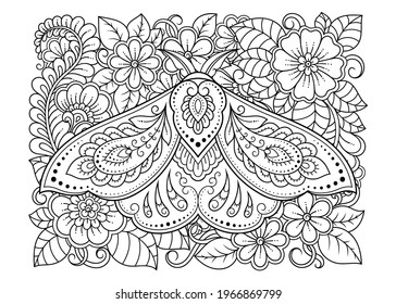 Moth decorated with Indian ethnic floral vintage pattern. Hand drawn decorative insect in doodle style. Stylized mehndi ornament for tattoo, print, design for room, cover, book and coloring page.